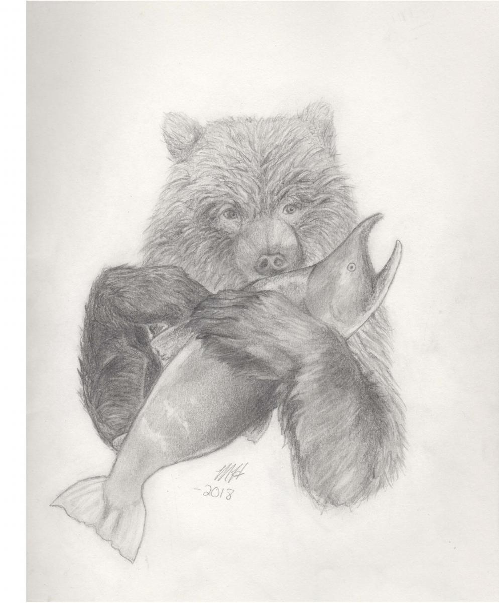 September- Masie, Gr. 12, Mission (Grizzly with Salmon)