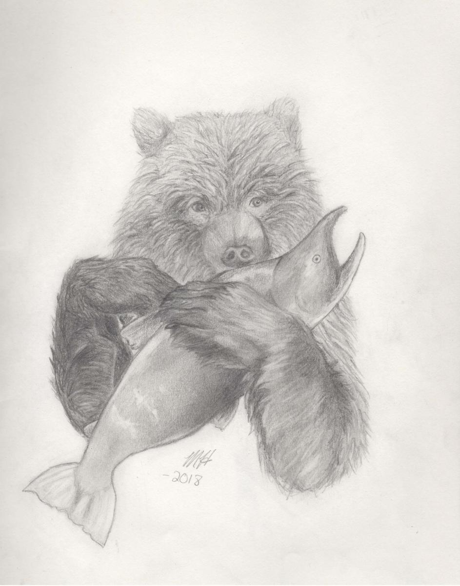 September - Masie, Gr. 12, Mission (Grizzly with Salmon)